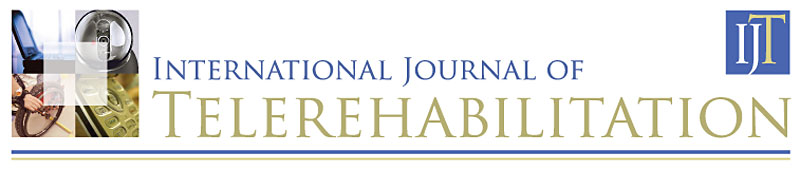 Banner for the International Journal of Telerehabilitation displays the journal monogram, ITJ, and four photos that represent telerehabilitation:   open laptop computer, web cam, wheelchair user, and touch pad of a mobile phone.